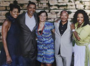 Copy shot of a picture of Kneeland Youngblood and his daughter Devon, center with the President Barack Obama and his wife, Michelle, and Oprah Winfrey. This picture was shot in his office in Dallas, Texas on December 15, 2015. (Copyright Lawrence Jenkins)